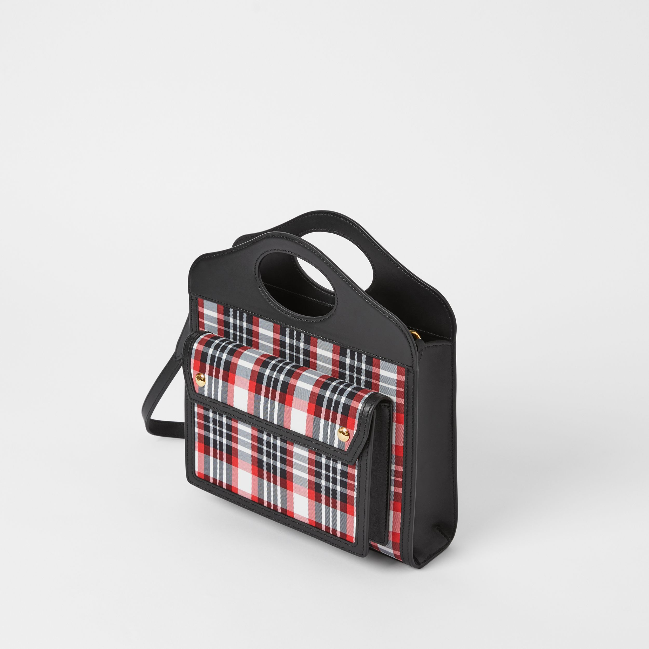 Mini Tartan Nylon and Leather Pocket Bag in Bright Red - Women | Burberry United States - 4