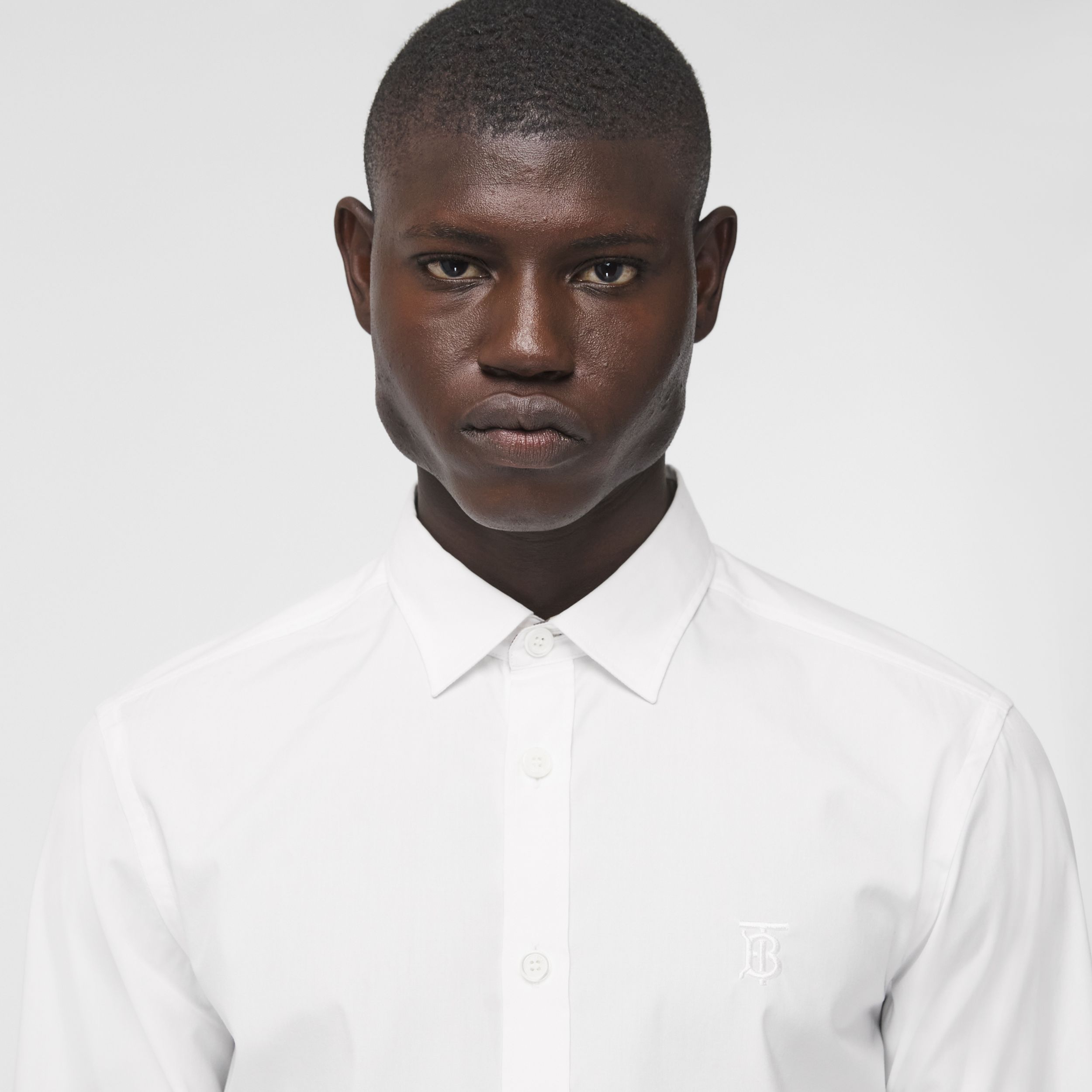 Slim Fit Monogram Motif Stretch Cotton Poplin Shirt in White - Men | Burberry - 2