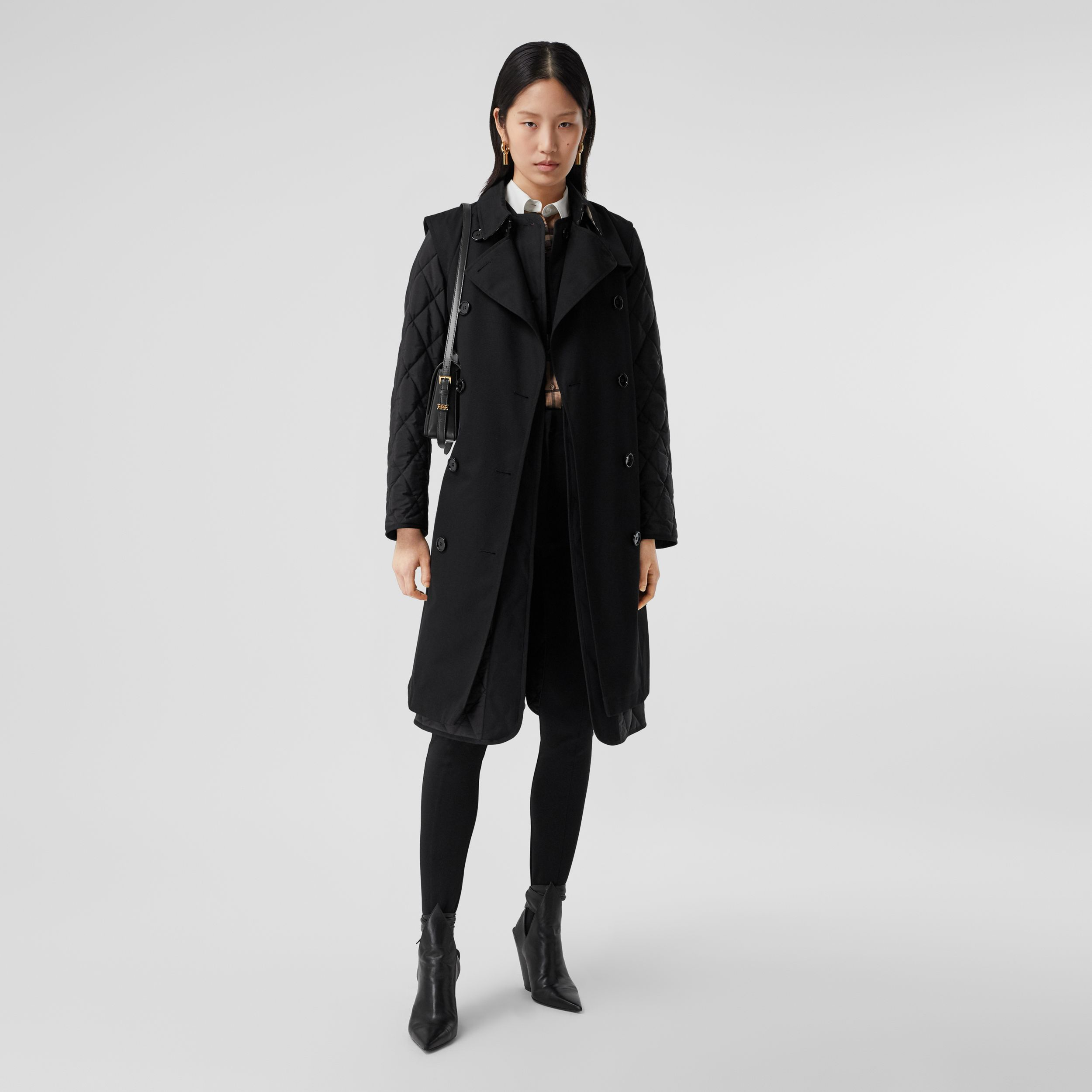 Sleeveless Trench Coat with Detachable Warmer in Black - Women | Burberry - 1
