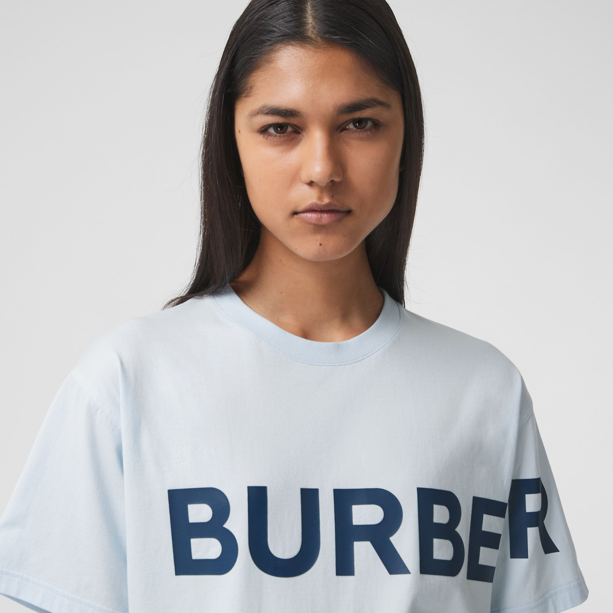 Horseferry Print Cotton Oversized T-shirt in Pale Blue - Women | Burberry Australia - 2