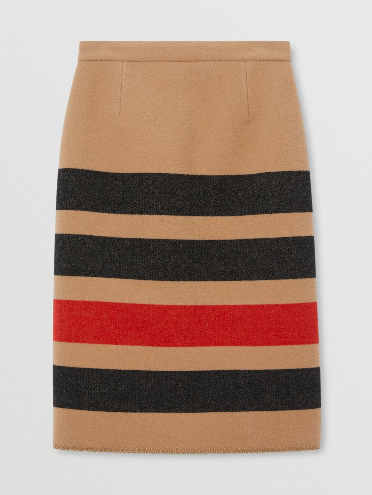 Striped Wool Pencil Skirt in Camel