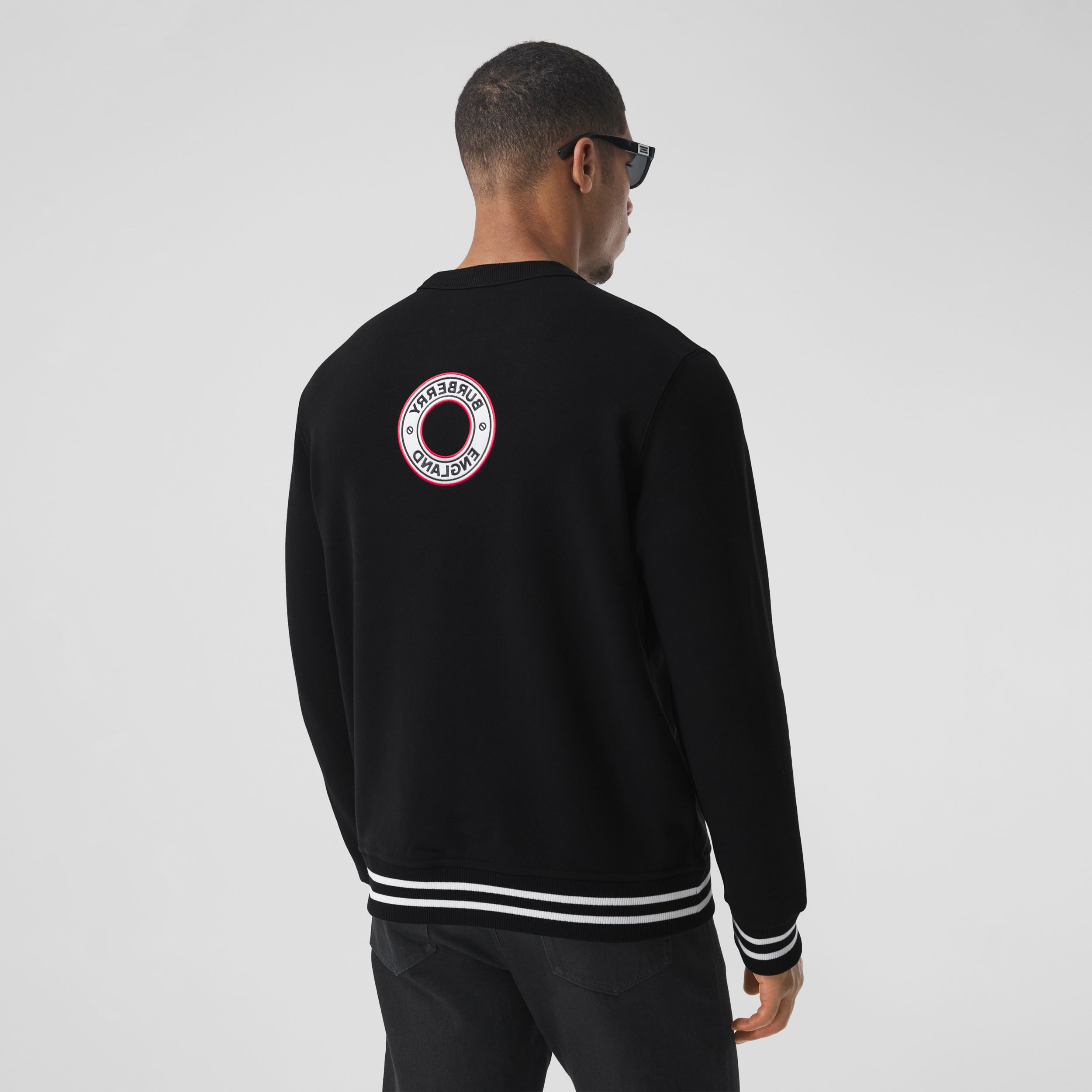 Logo Graphic Appliqué Cotton Sweatshirt in Black - Men | Burberry - 3