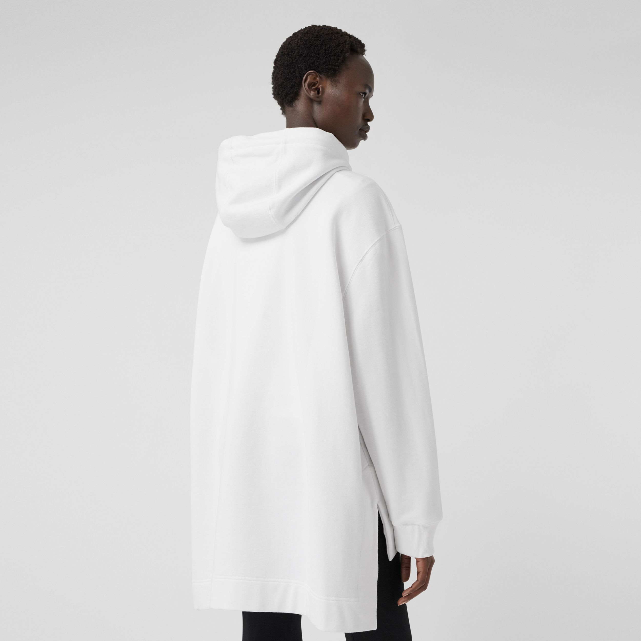 Stepped Hem Cotton Oversized Hoodie in White - Women | Burberry - 3
