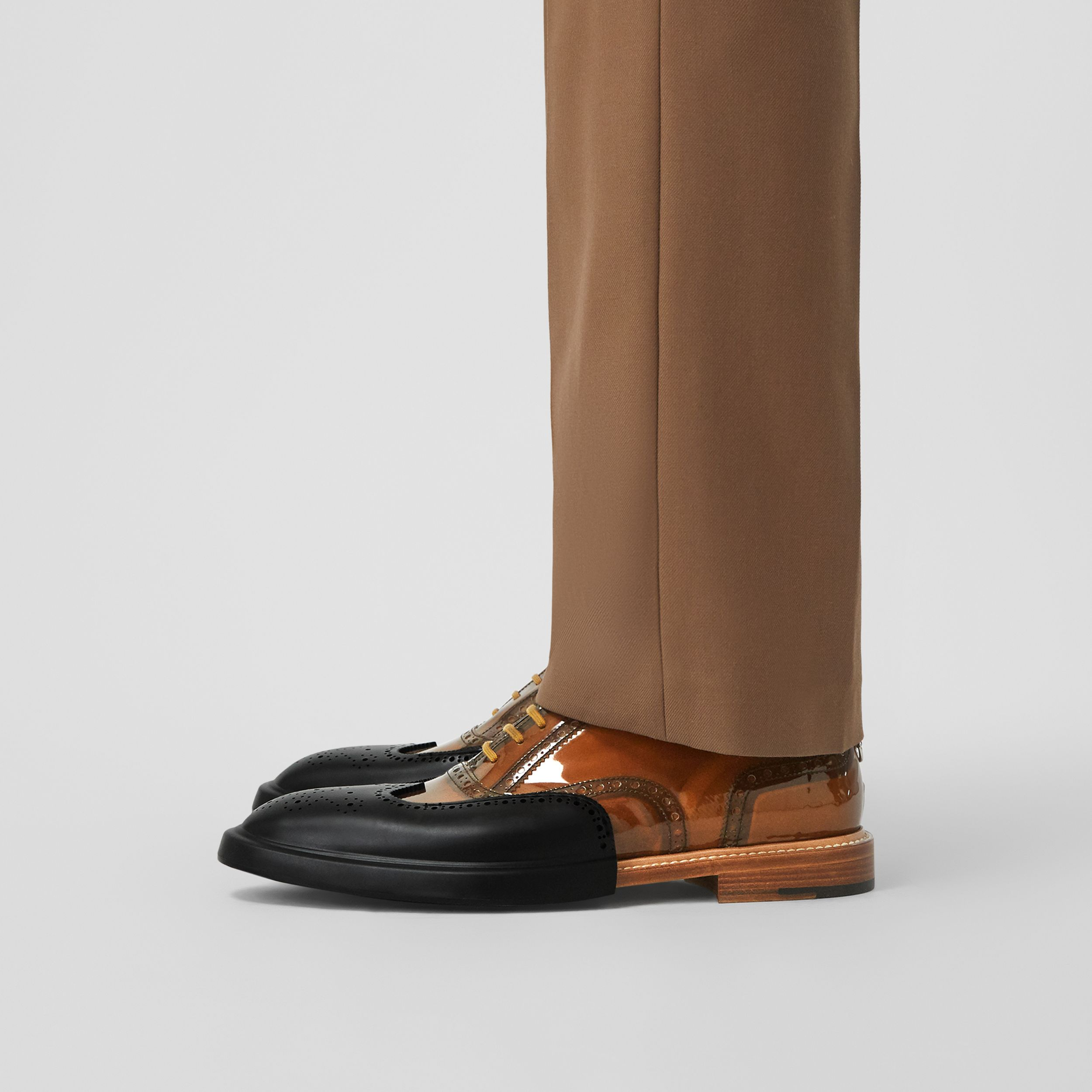 Toe Cap Detail Vinyl and Leather Oxford Brogues in Brown/black - Men | Burberry United Kingdom - 3