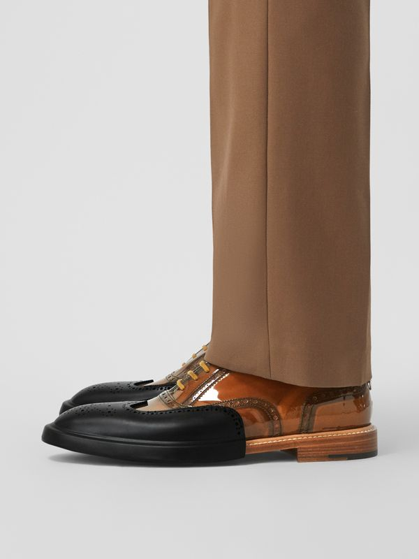 Toe Cap Detail Vinyl and Leather Oxford Brogues in Brown/black - Men | Burberry - cell image 2