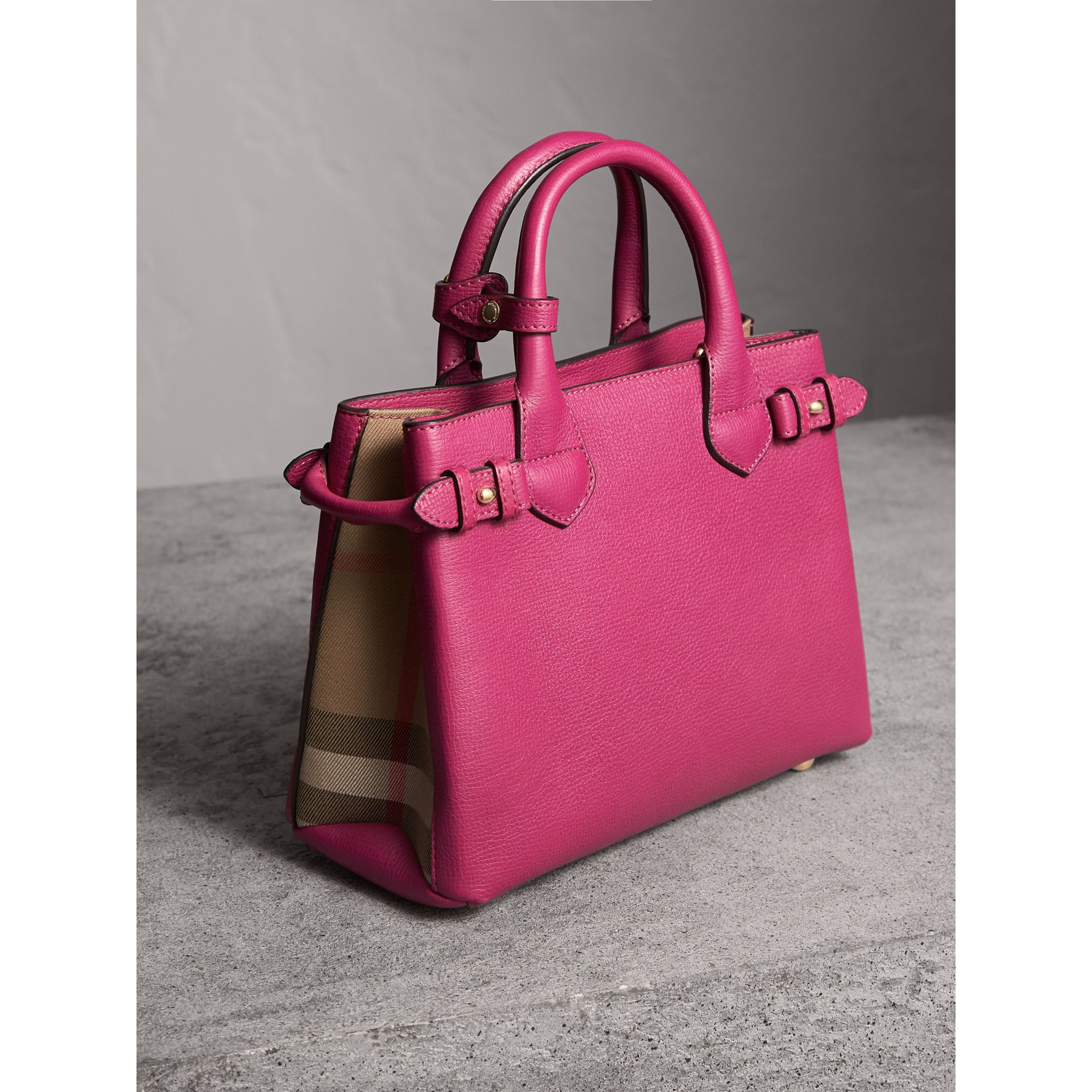 The Small Banner in Leather and House Check in Brilliant Fuchsia - Women | Burberry - gallery image 4