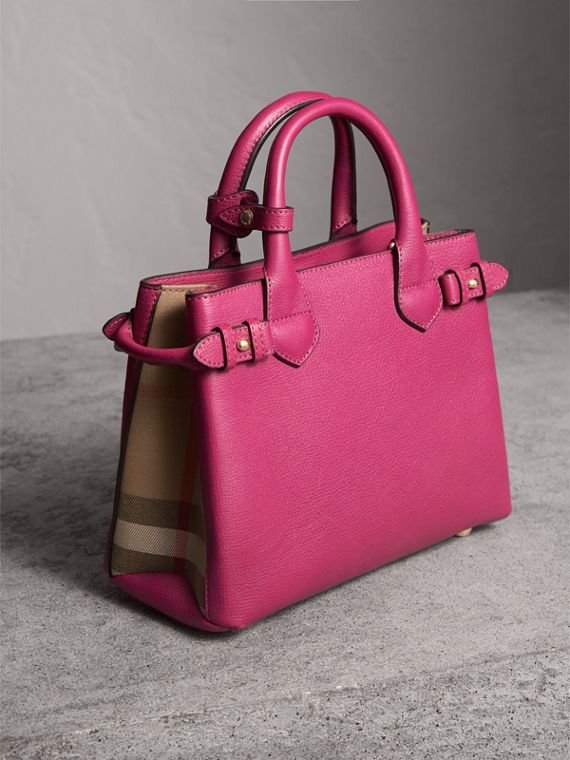 The Small Banner in Leather and House Check in Brilliant Fuchsia - Women | Burberry - cell image 3