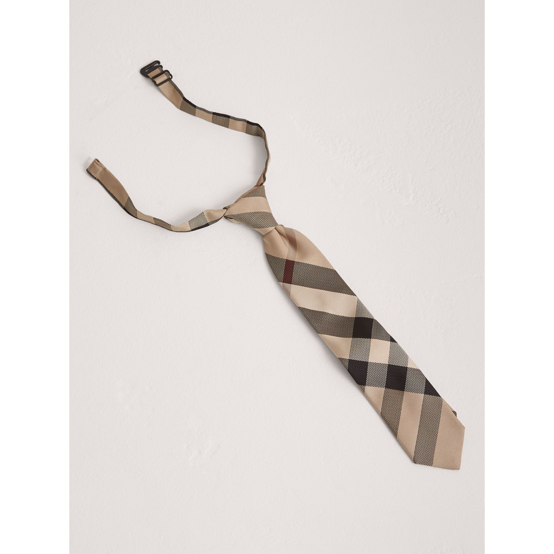 Modern Cut Check Silk Tie in New Classic - Children | Burberry United Kingdom - gallery image 0