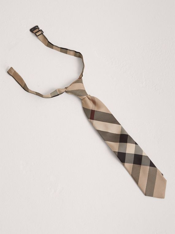 Gravata de seda com corte moderno e padrão xadrez (Novo  Clássico)