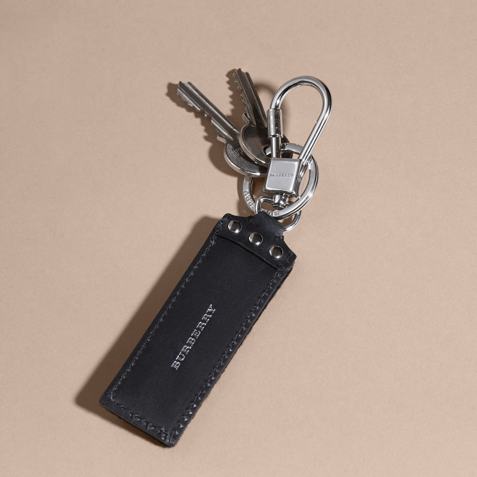 Embroidered Leather Key Ring - gallery image 4