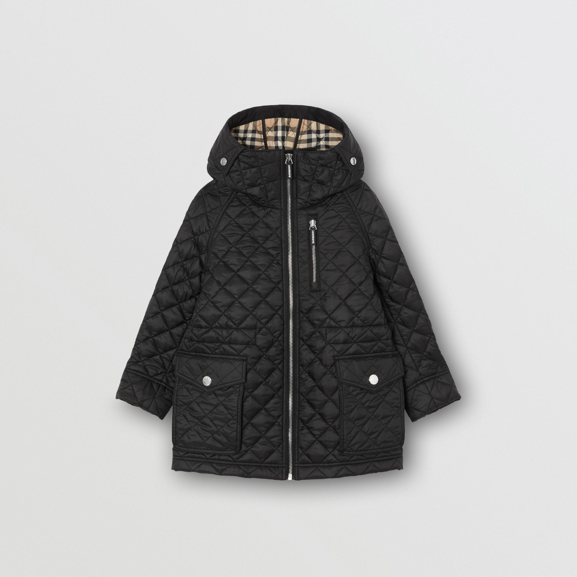 Diamond Quilted Hooded Coat in Black | Burberry - gallery image 0