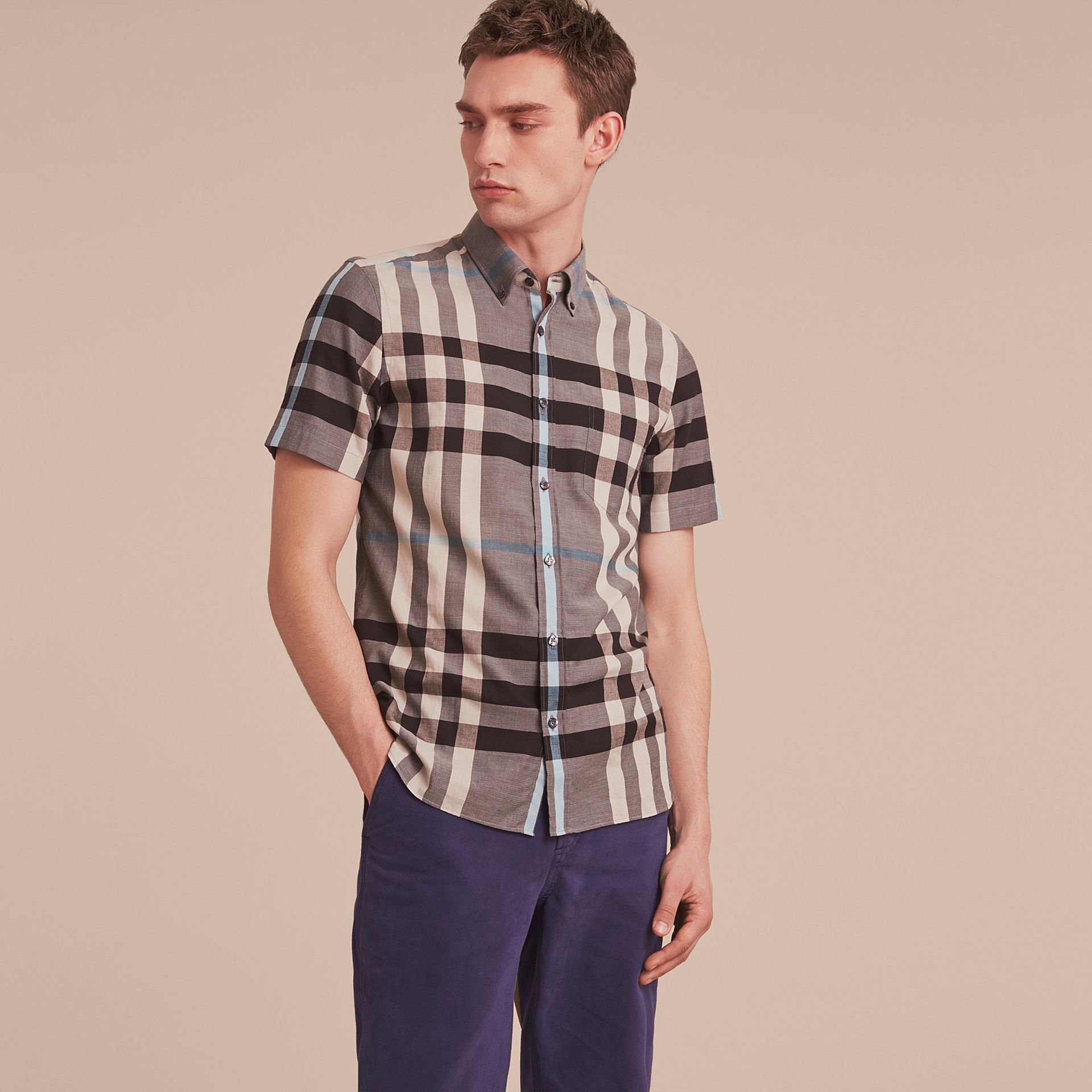 Button-down Collar Short-sleeve Check Cotton Shirt in Mist Grey - gallery image 6
