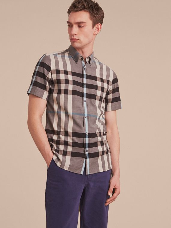 Button-down Collar Short-sleeve Check Cotton Shirt Mist Grey