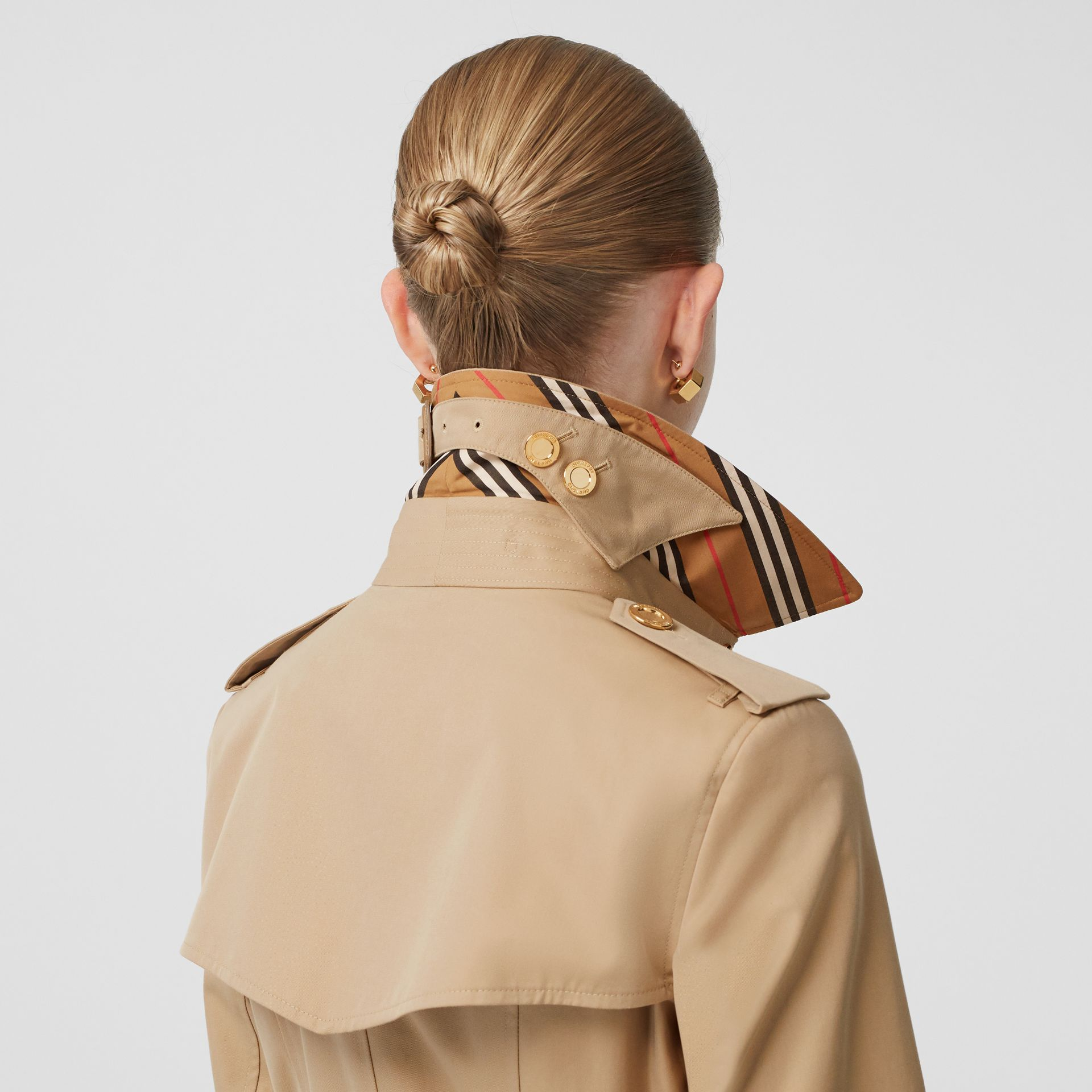 Button Detail Cotton Gabardine Trench Coat in Honey - Women | Burberry - gallery image 1