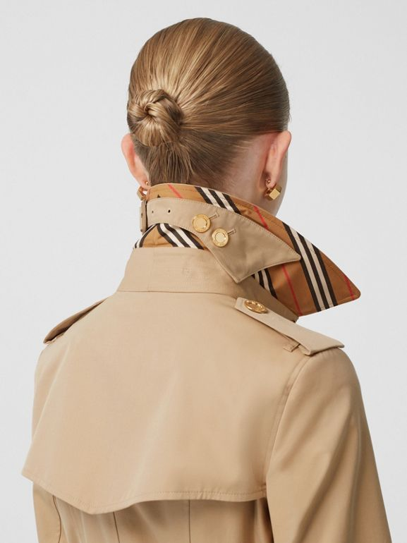 Button Detail Cotton Gabardine Trench Coat in Honey - Women | Burberry United Kingdom - cell image 1