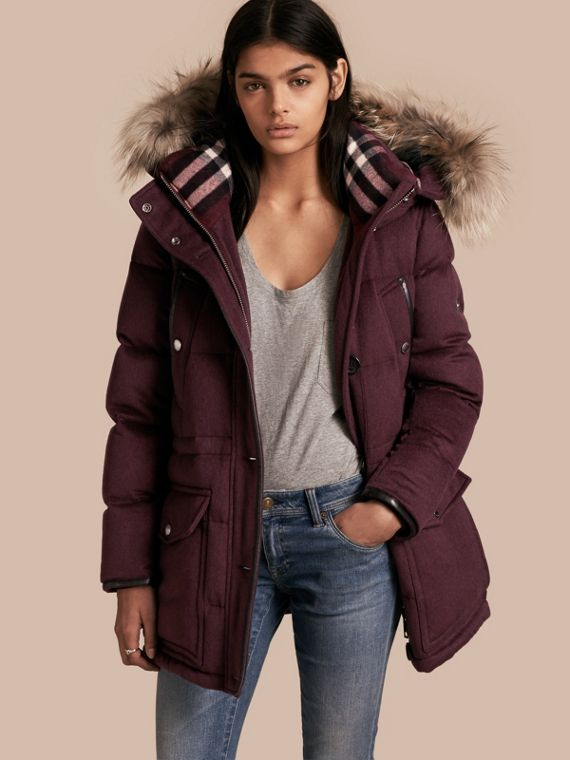 Down-filled Cashmere Coat with Detachable Fur Trim Deep Claret