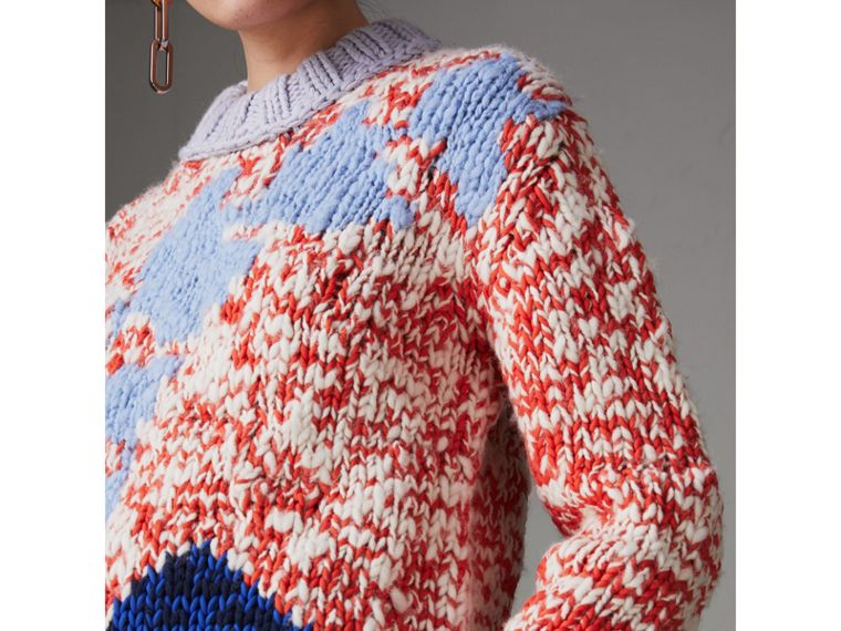 Chunky Knit Wool Blend Sweater in Bright Red - Women | Burberry United Kingdom - cell image 1
