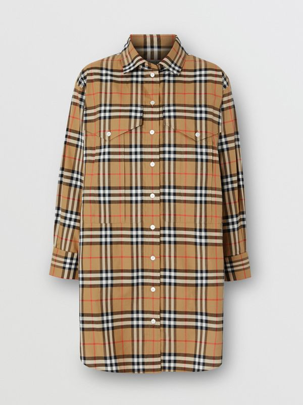 Vintage Check Cotton Oversized Shirt in Antique Yellow - Women | Burberry United Kingdom - cell image 3