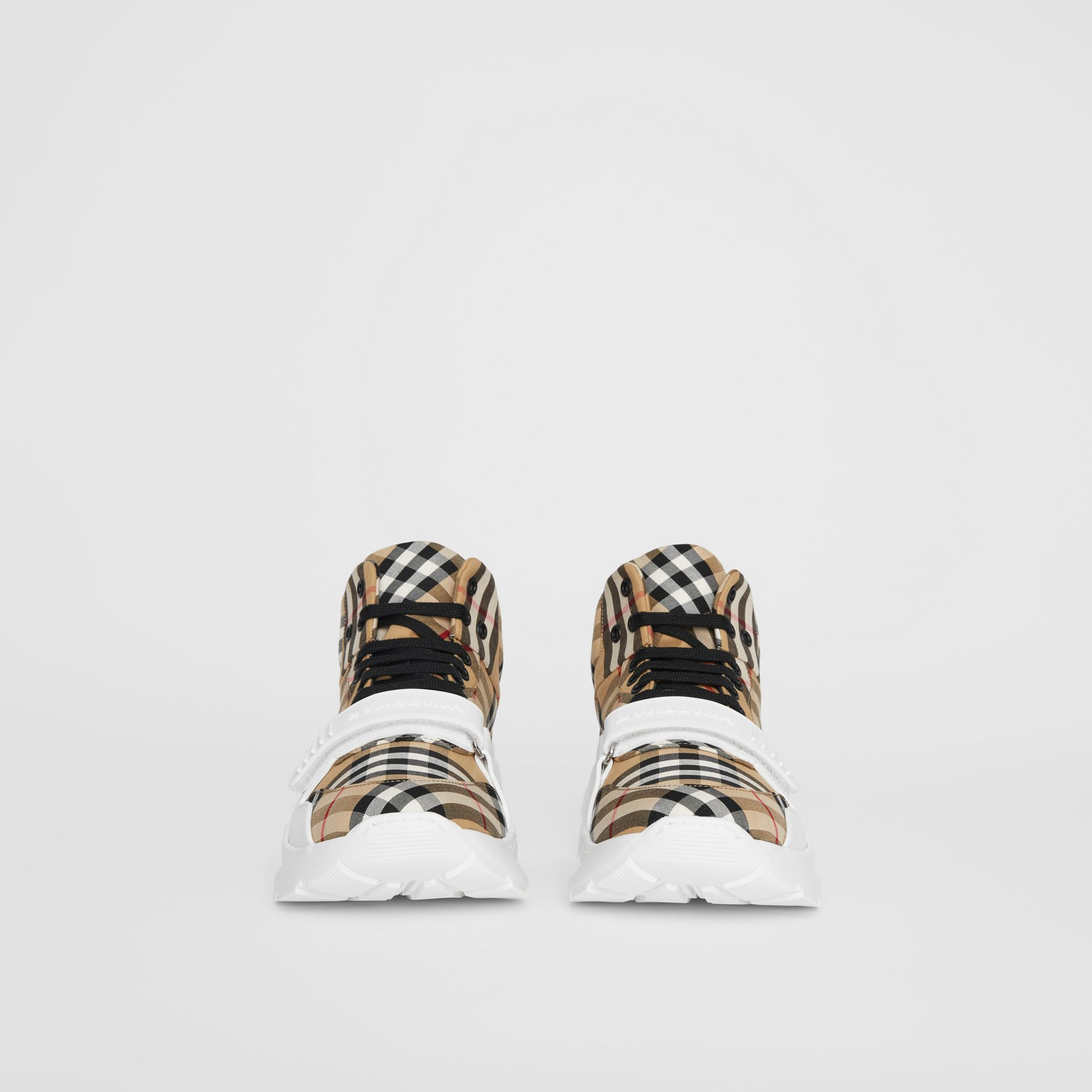 Vintage Check High-top Sneakers in Antique Yellow/optic White - Men | Burberry - gallery image 2