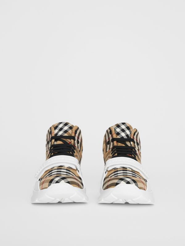 Vintage Check High-top Sneakers in Antique Yel/optc Wht - Men | Burberry United Kingdom - cell image 3
