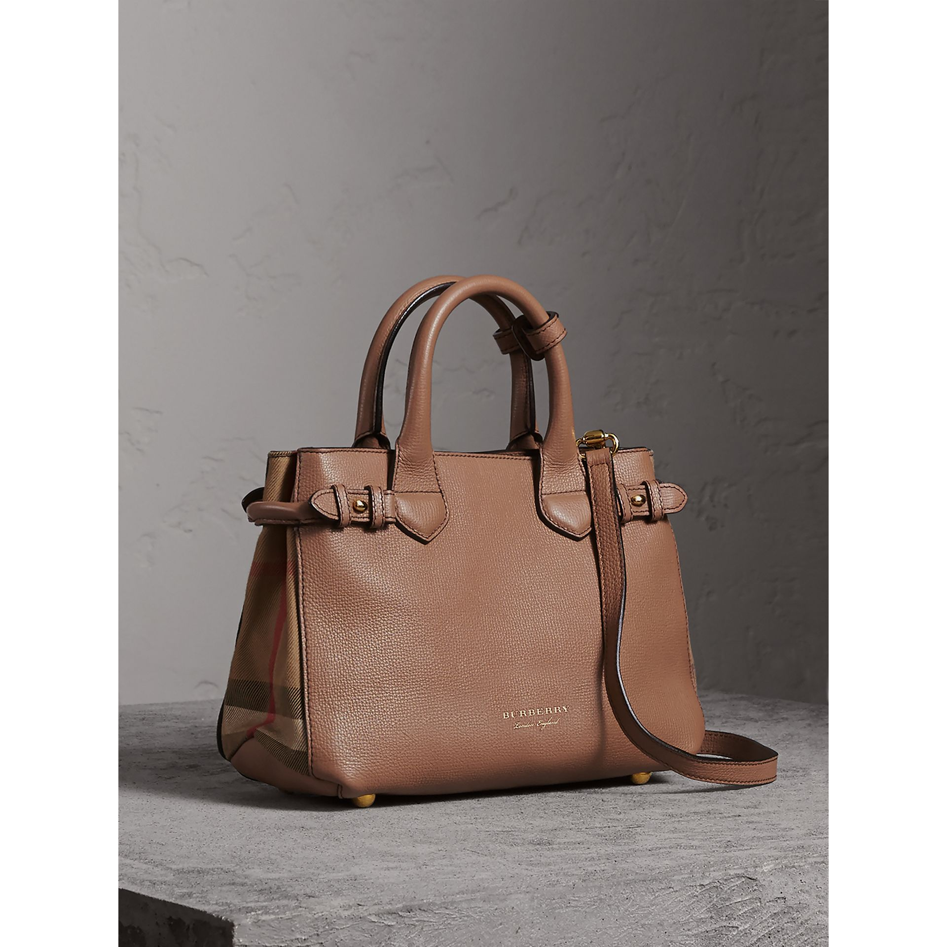 The Small Banner in Leather and House Check in Dark Sand - Women | Burberry United Kingdom - gallery image 0