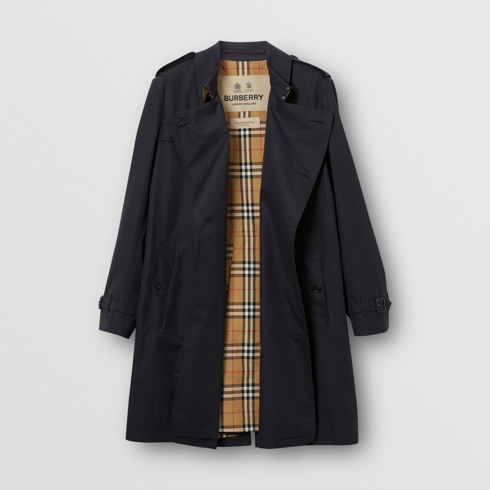 Cotton Gabardine Trench Coat in Midnight - Men | Burberry - gallery image 8