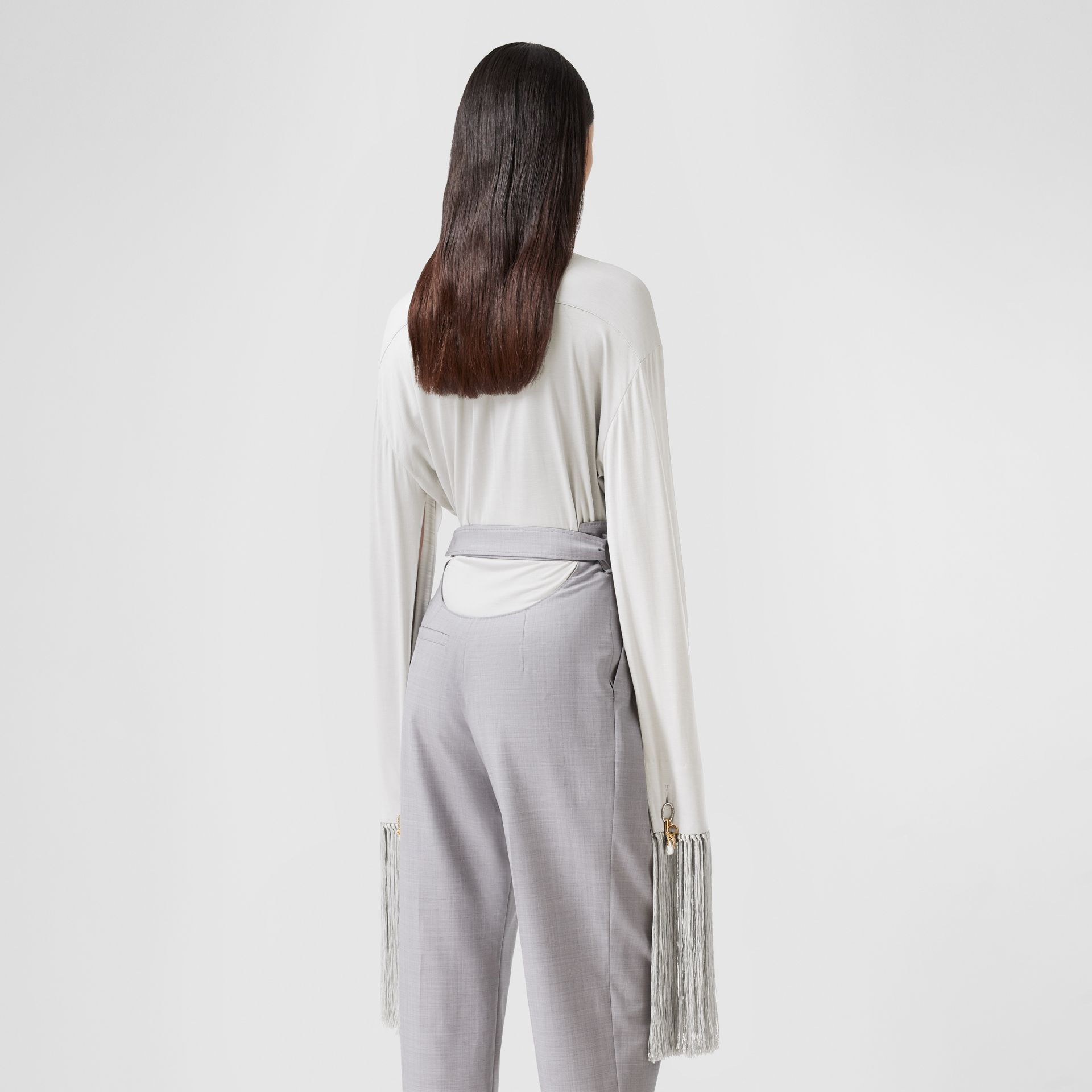 Fringed Silk Wool Jersey Shirt in Grey Melange - Women | Burberry Canada - gallery image 2