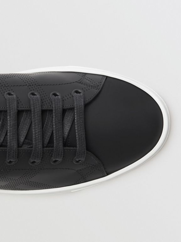Perforated Check Leather Sneakers in Black - Men | Burberry United States - cell image 1