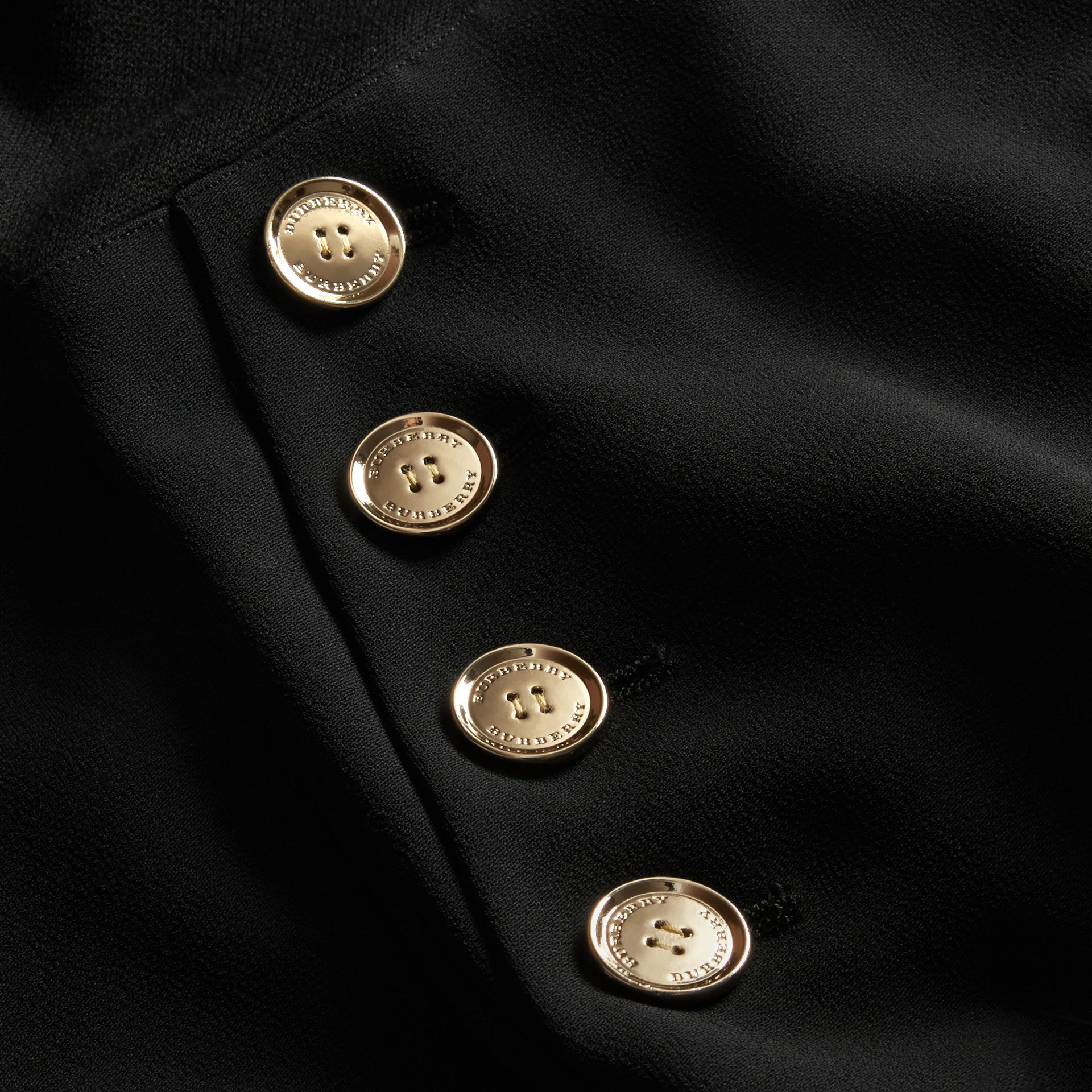 Black Long-sleeved Silk Wool Military Dress - gallery image 2