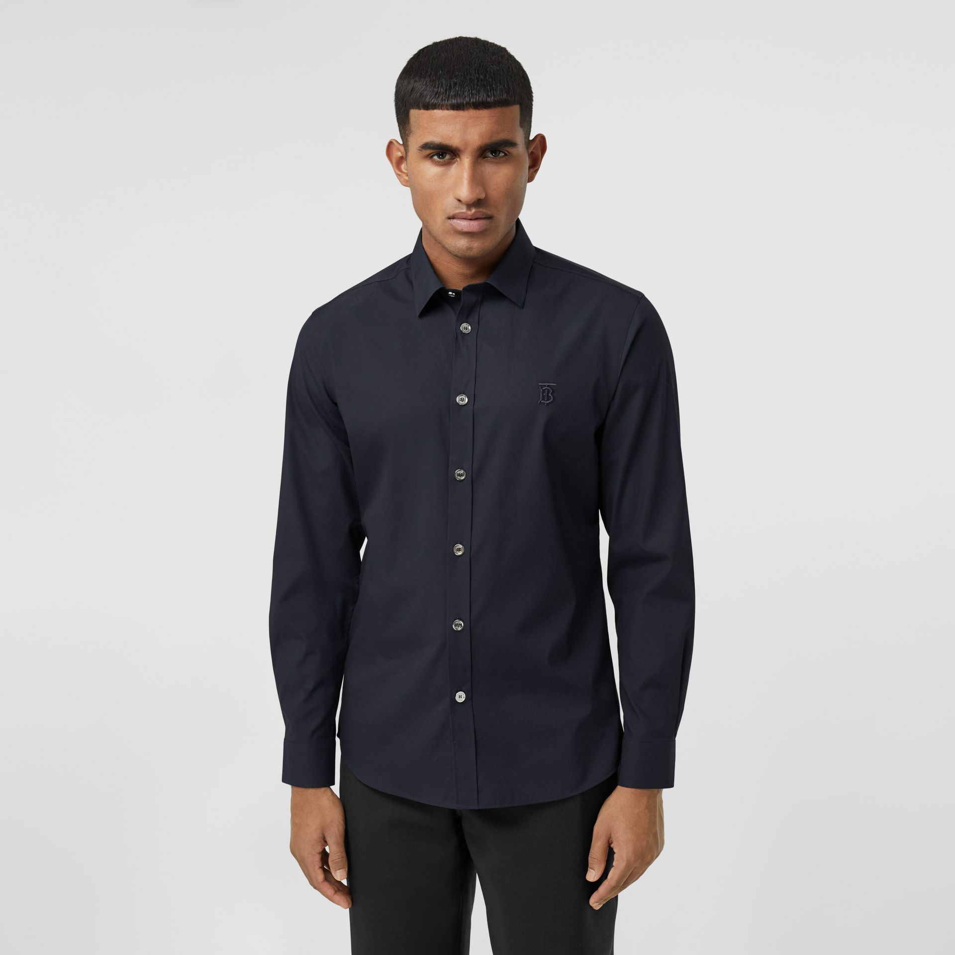 Monogram Motif Stretch Cotton Poplin Shirt in Navy - Men | Burberry Australia - gallery image 0