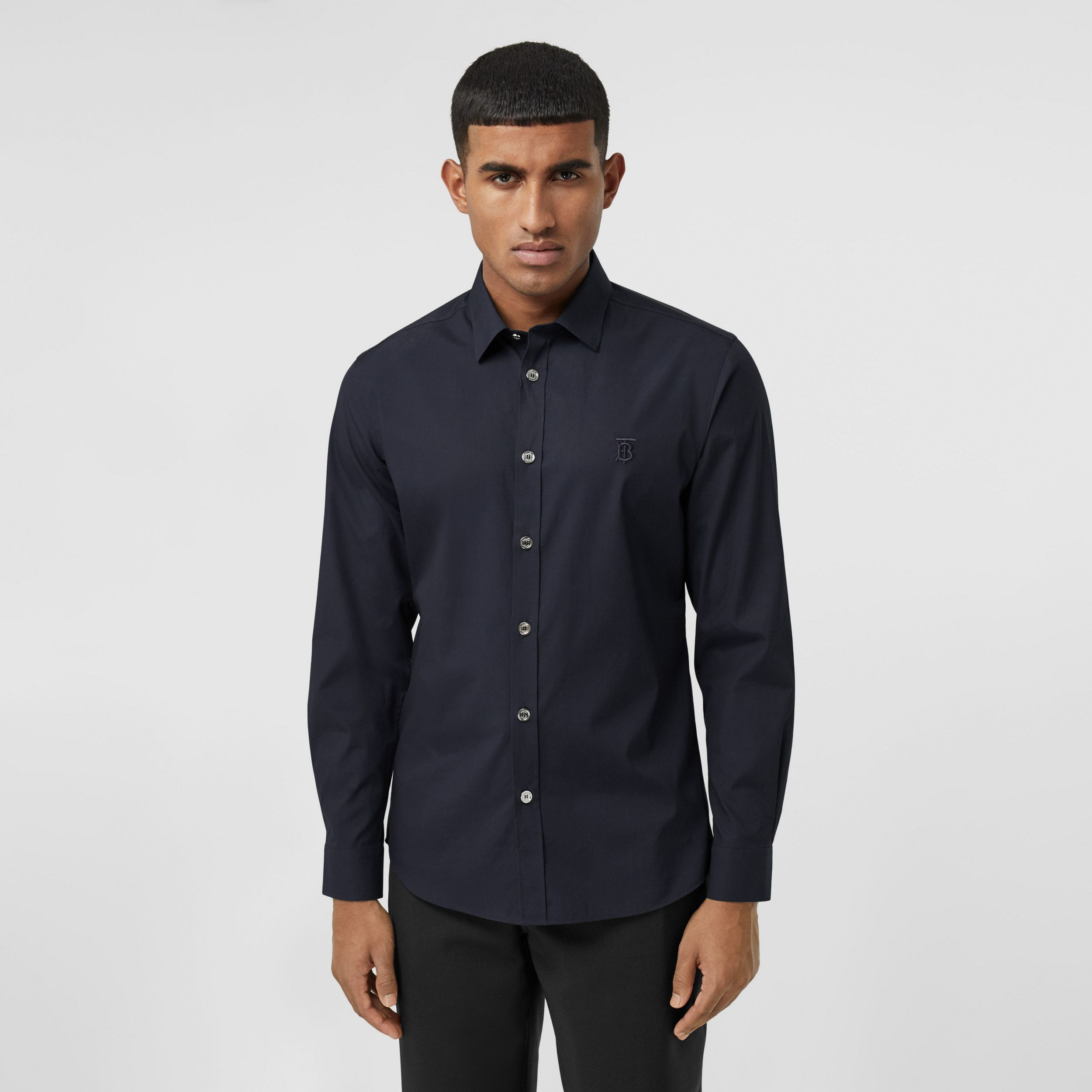 Monogram Motif Stretch Cotton Poplin Shirt in Navy - Men | Burberry Australia - 1