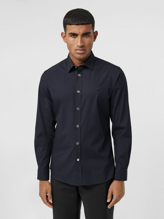 Monogram Motif Stretch Cotton Poplin Shirt in Navy