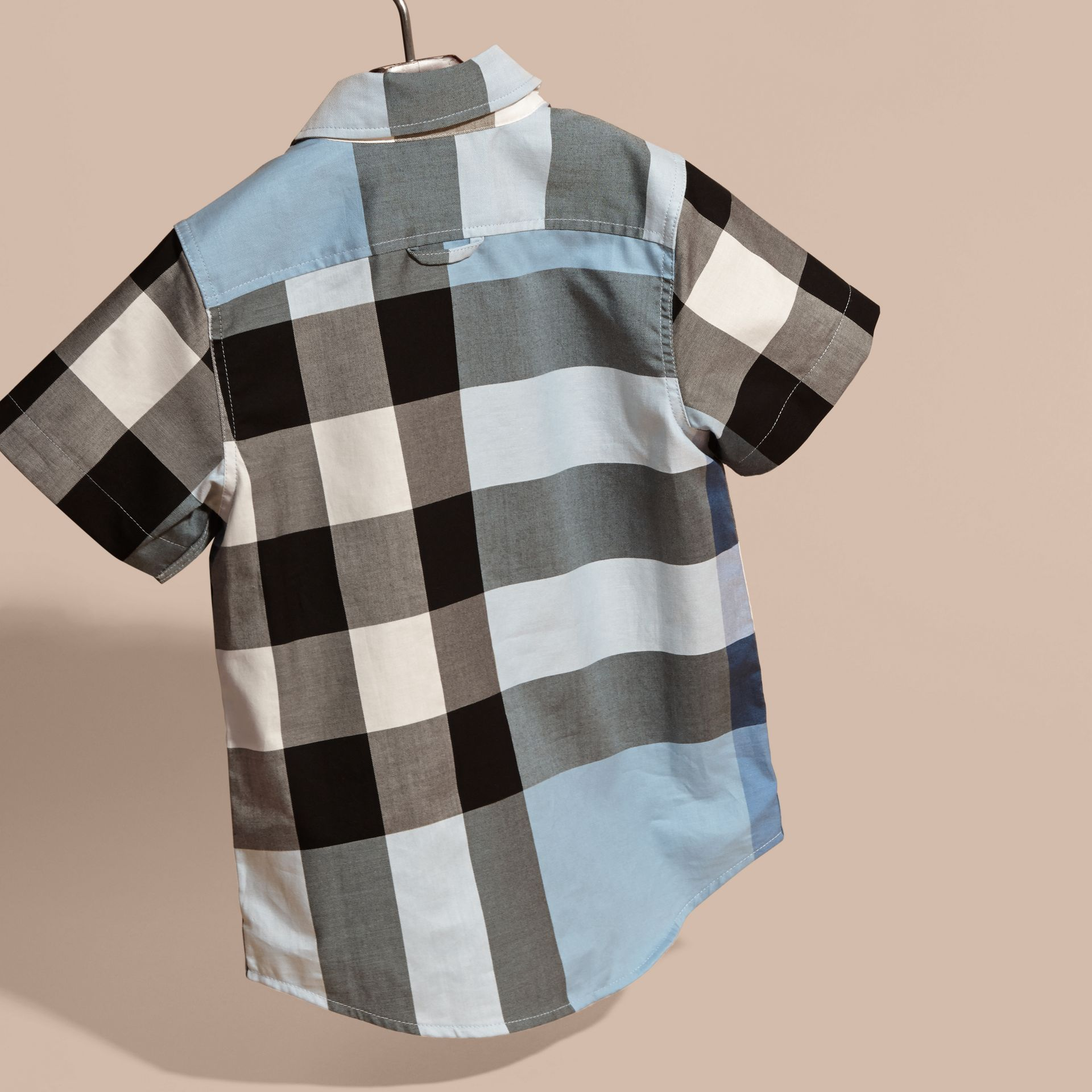 Short-sleeved Check Cotton Shirt Pale Blue - gallery image 4