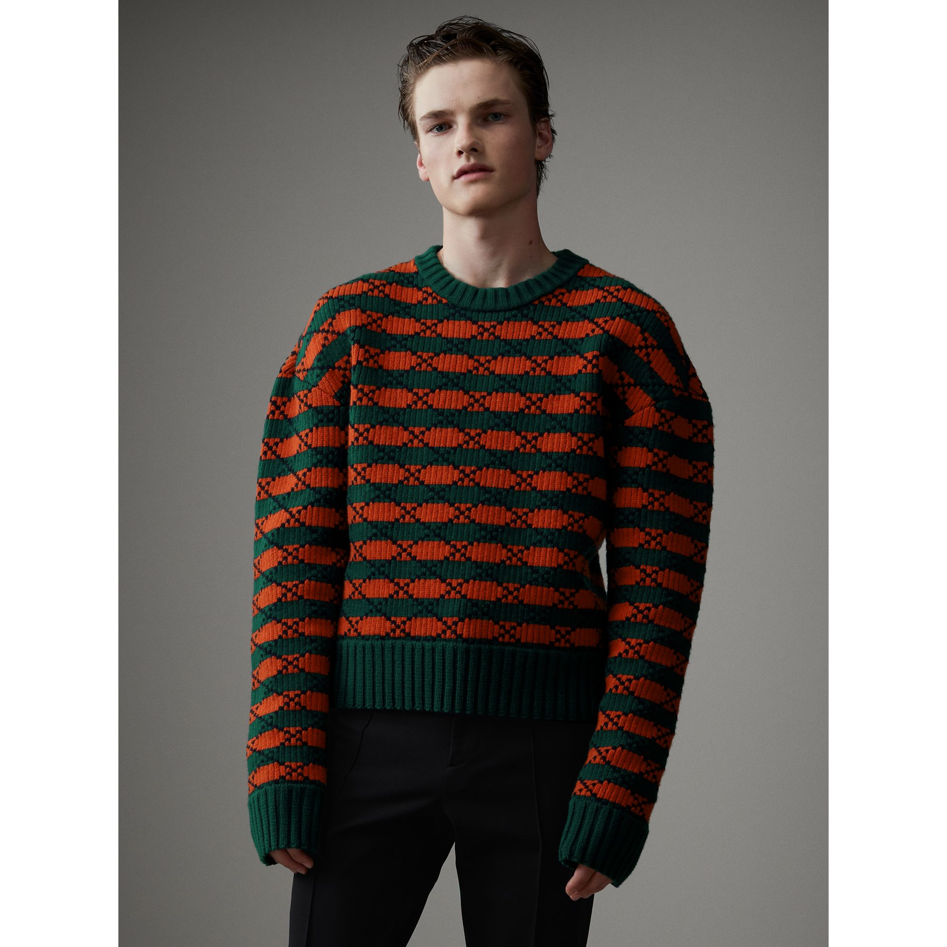 Geometric Wool Cotton Blend Sculptural Sweater in Multicolour - Men | Burberry - gallery image 4
