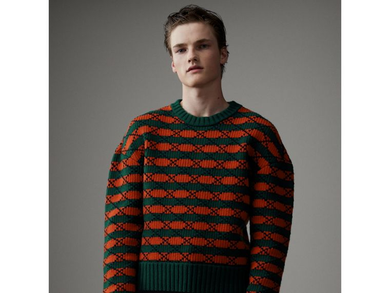 Geometric Wool Cotton Blend Sculptural Sweater in Multicolour - Men | Burberry - cell image 4