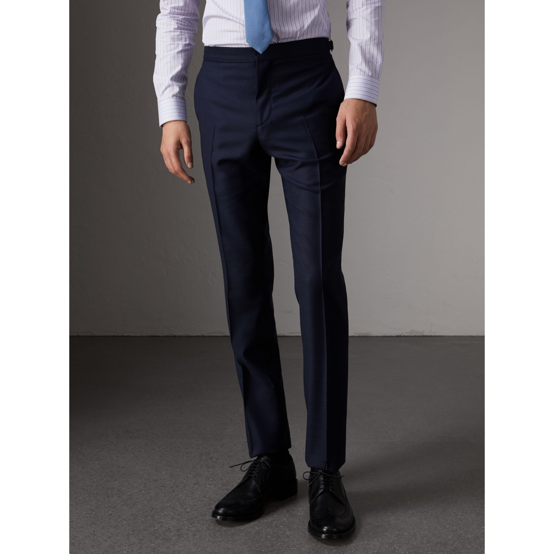 Slim Fit Travel Tailoring Three-piece Wool Suit in Navy - Men | Burberry - gallery image 9
