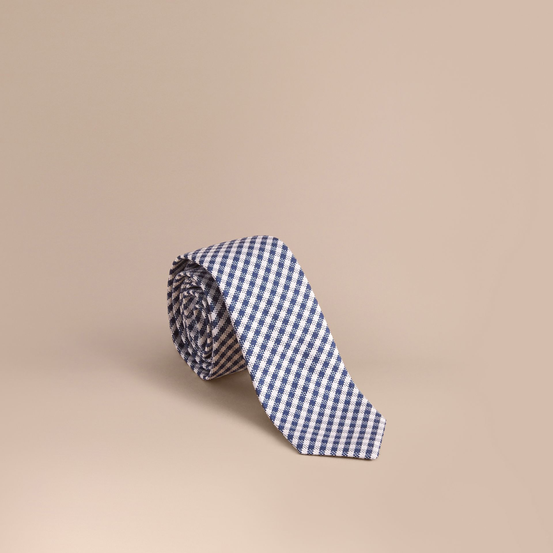 Slim Cut Cotton Silk Gingham Tie Brilliant Blue - gallery image 1