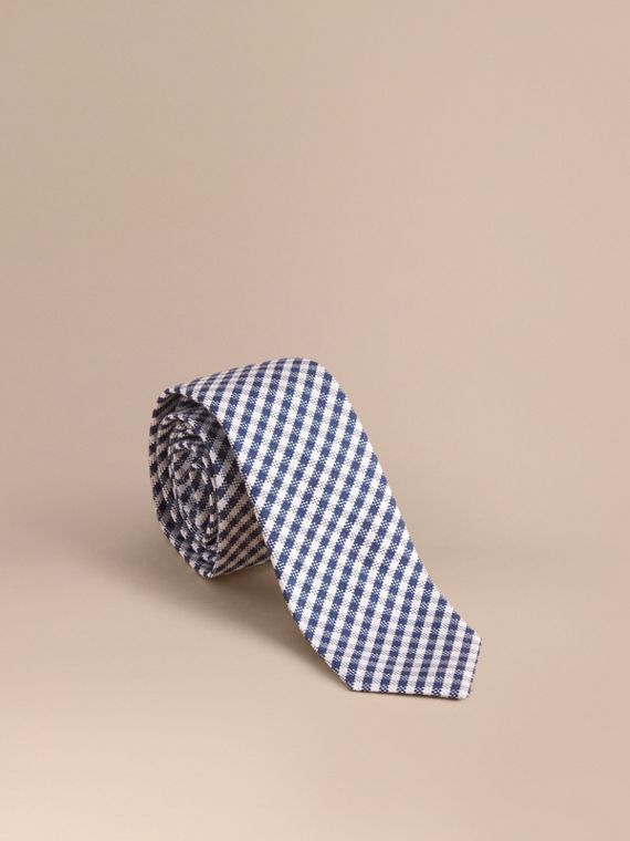 Slim Cut Cotton Silk Gingham Tie in Brilliant Blue