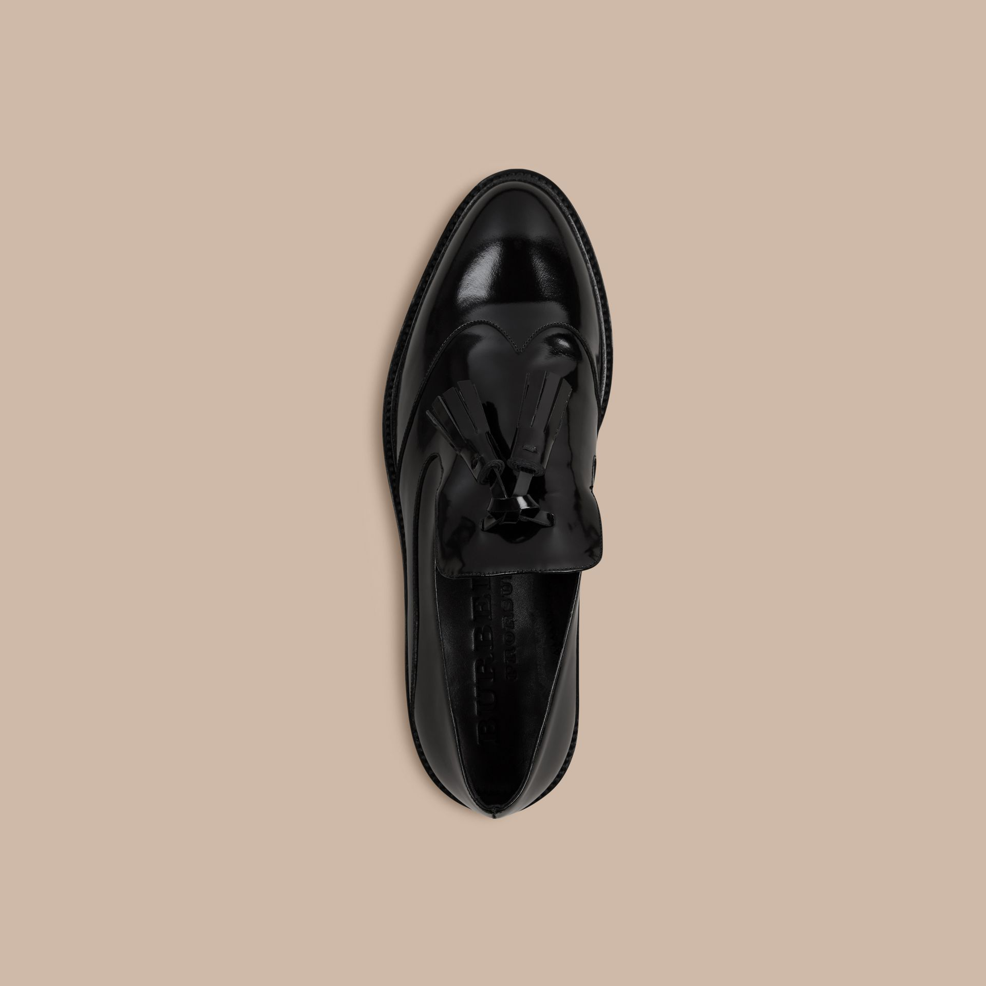 Black Tassel Detail Leather Loafers - gallery image 3