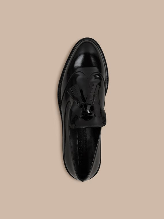 Black Tassel Detail Leather Loafers - cell image 2
