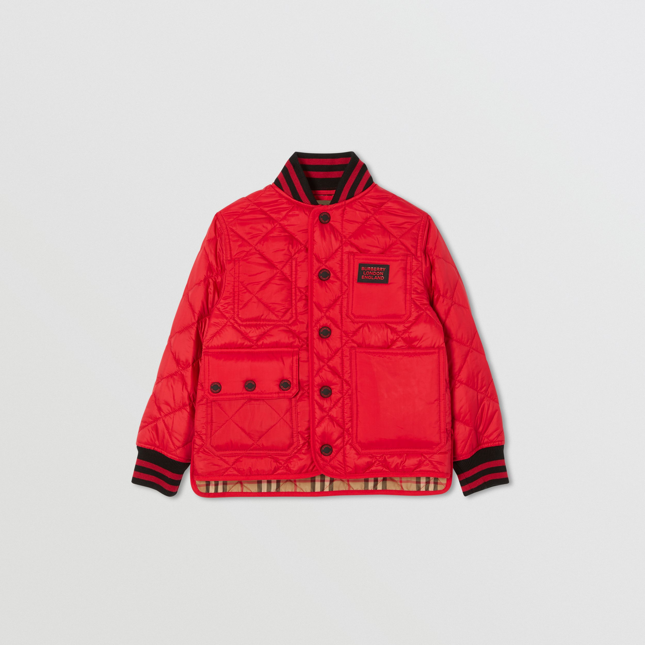 Recycled Polyester Diamond Quilted Jacket in Bright Red | Burberry - 1