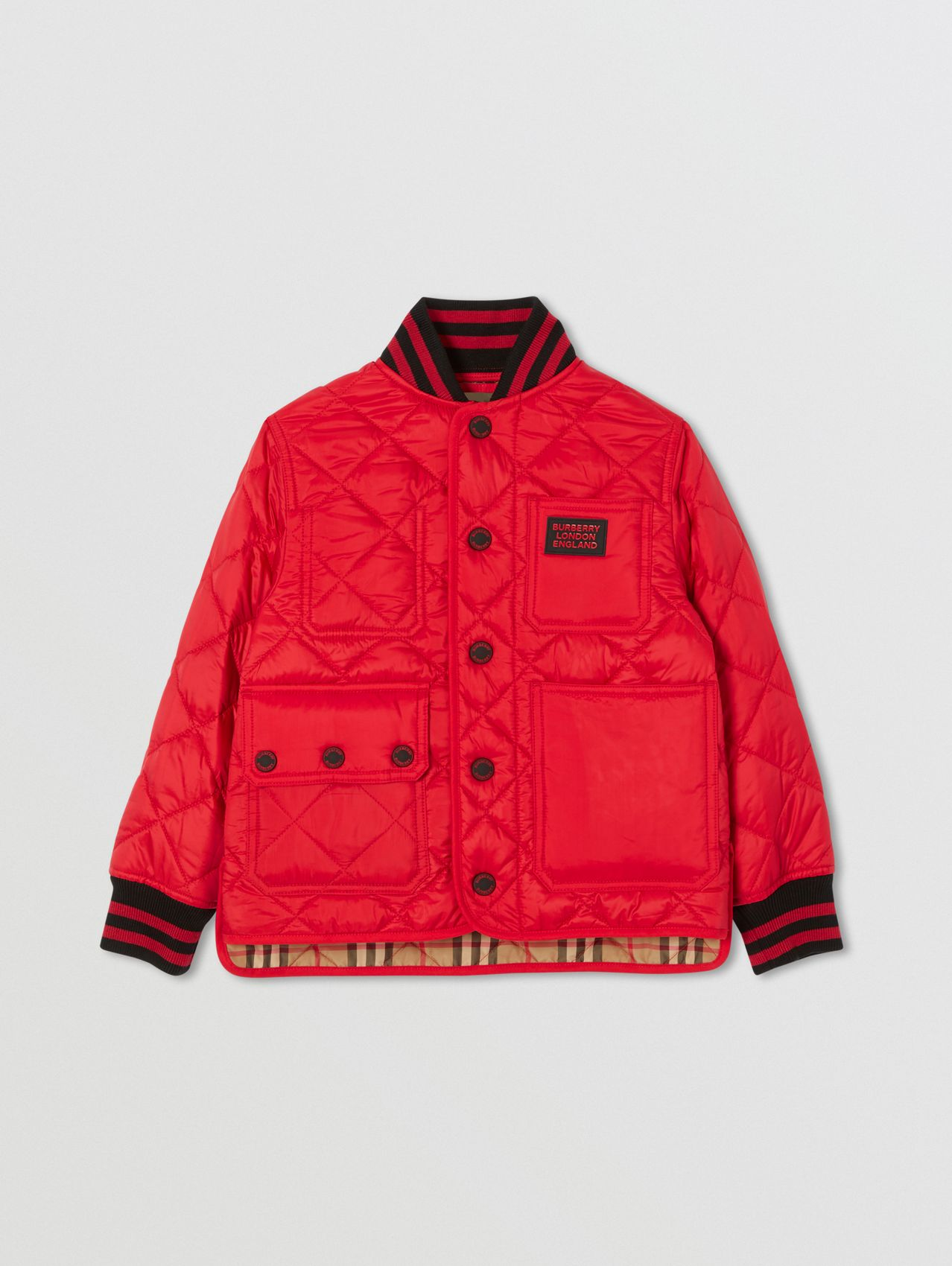 Recycled Polyester Diamond Quilted Jacket (Bright Red)