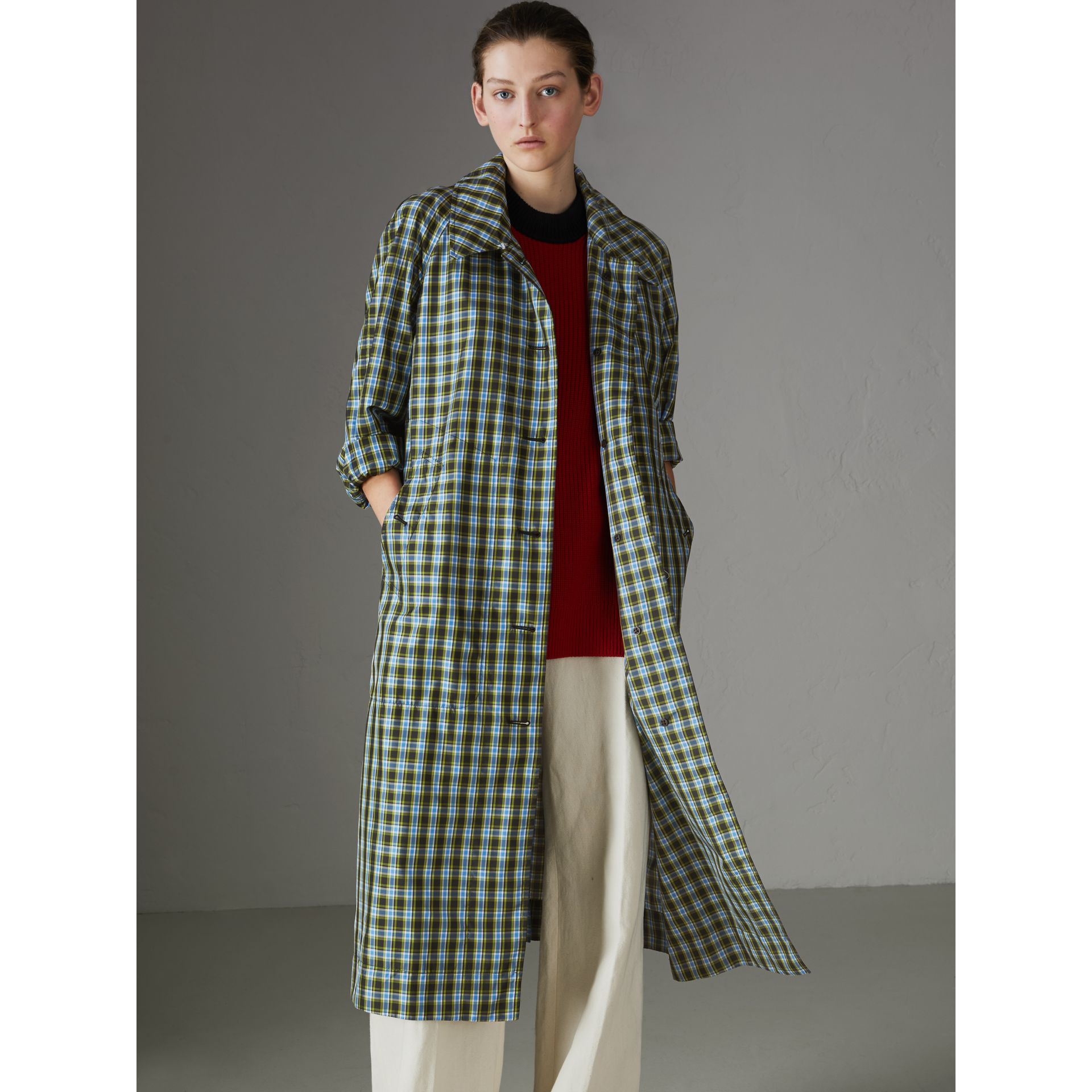 Lightweight Check Extra-long Car Coat in Azure Blue - Women | Burberry - gallery image 5