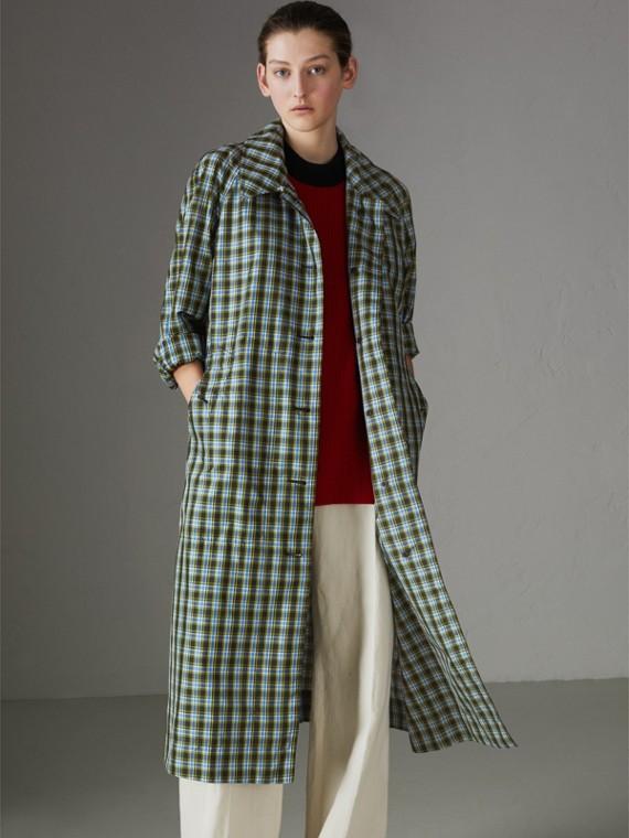 超長版格紋輕盈中長大衣 (湛藍色)