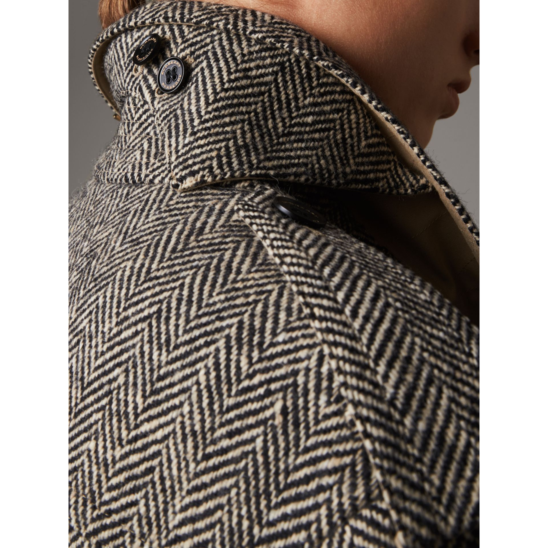 Donegal Tweed and Cotton Gabardine Trench Coat - Women | Burberry - gallery image 2
