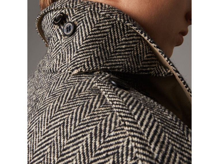 Donegal Tweed and Cotton Gabardine Trench Coat in Natural White/black - Women | Burberry - cell image 1
