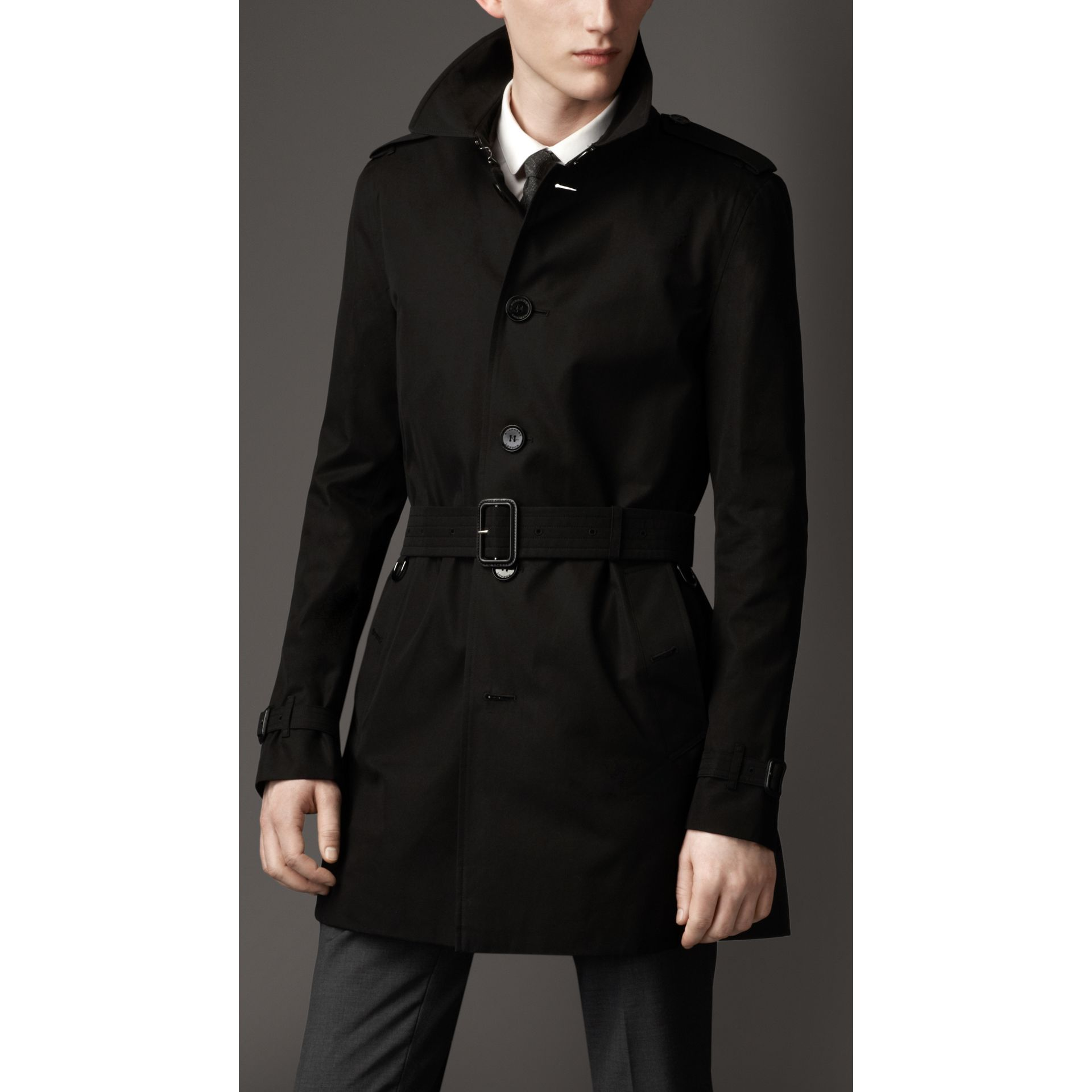 Cotton Gabardine Trench Coat in Jet Black - Men | Burberry - gallery image 1