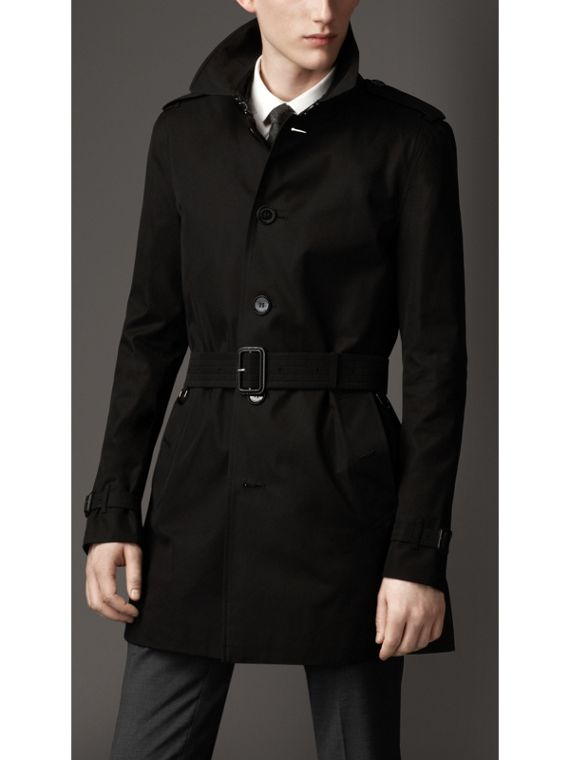 Cotton Gabardine Trench Coat in Jet Black