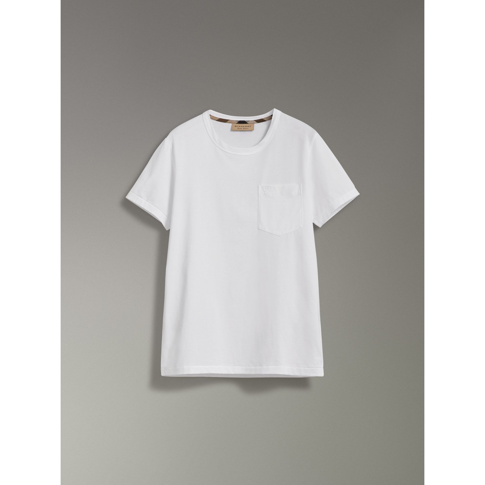 Pocket Detail Cotton Jersey T-shirt in White - Men | Burberry - gallery image 3