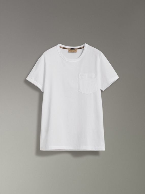Pocket Detail Cotton Jersey T-shirt in White - Men | Burberry - cell image 3